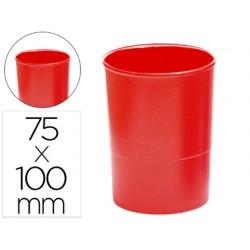 Cubilete portalapices q-connect plastico rojo opaco