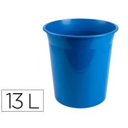 Papelera plastico q-connect azul opaco 13 litros dim....