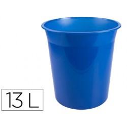 Papelera plastico q-connect azul translucido 13 litros...