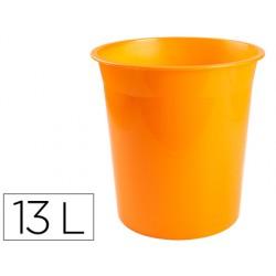 Papelera plastico q-connect naranja translucido 13 litros...