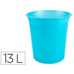 Papelera plastico q-connect turquesa translucido 13...