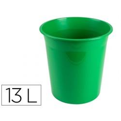Papelera plastico q-connect verde opaco 13 litros dim....