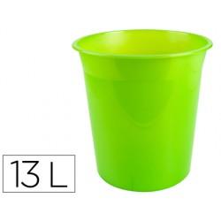 Papelera plastico q-connect verde translucido 13 litros...