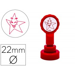 Sello artline emoticono estrella color rojo 22 mm diametro