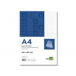 Bloc notas liderpapel cuadro 4mm a4 80 hojas 60g/m2