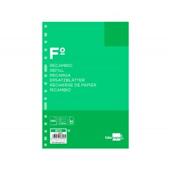 Recambio liderpapel folio 100 hojas 60g/m2 pauta 5ª 2.5mm...