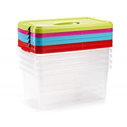 Caja multiusos plastico 10 l numero 24 tapa de color con...