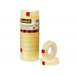 Cinta adhesiva scotch transparente 12mmx33 mt pack de 12