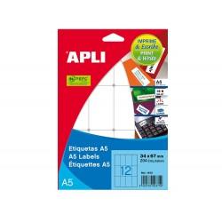 Etiqueta adhesiva apli blanca 12x30 mm sobre a5 de 990...
