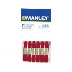Lapices cera manley unicolor carmin permanente -caja de...