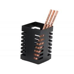 Cubilete portalapices q-connect metal cuadrado negro...