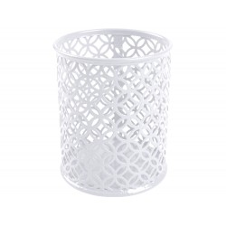 Cubilete portalapices q-connect metal redondo blanco...