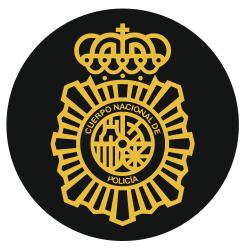 Pegatina Policía Nacional Redondo Lineas Doaradas Fondo...