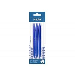 Boligrafo milan p1 retractil 1 mm touch azul blister de 3...