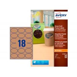 Etiqueta adhesiva avery kraft efecto carton ovalada...