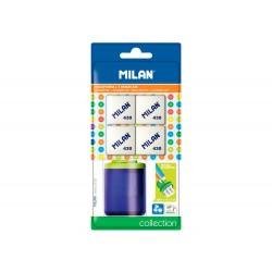Sacapuntas milan collection plastico 2 usos + 4 gomas 430