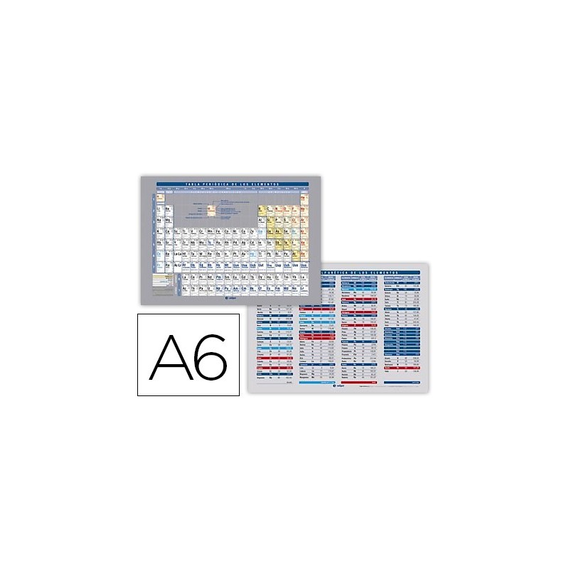Tabla periodica de elementos impresa a doble cara plastificada din a6