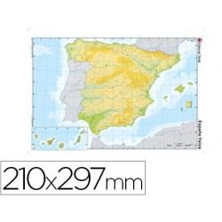 Mapa mudo color din a4 españa -fisico