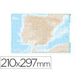 Mapa mudo b/n din a4 españa -fisico