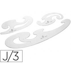 Regla Plantillas curvas d.F. Cristal -juego de 3
